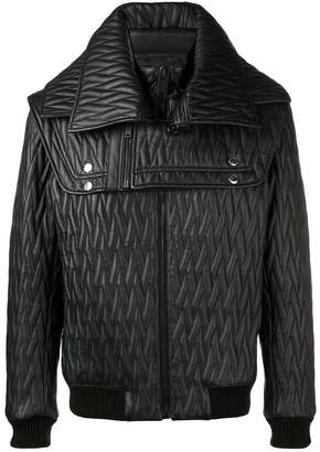 Les Hommes embossed zipped jacket