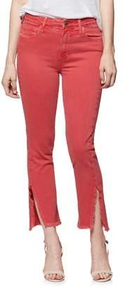 Paige Hoxton High Waist Slit Hem Ankle Straight Jeans