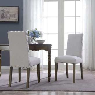 BEIGE Belleze BELLEZE Set of (2) Dining Chairs Linen Armless Nailhead Trim Accent Elegant Side Chair Wooden Leg,