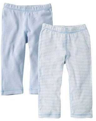 Burt's Bees Baby Organic Footless Pants, Solid and Stripe, 12M, Sky, 2 Ct