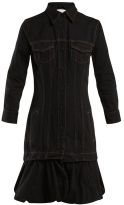 Marques Almeida Marques'almeida - Drop Waist Bubble Hem Denim Dress - Womens - Black
