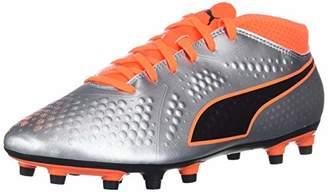 Puma Men's ONE 4 Syn FG Soccer Shoe Silver-Shocking Orange Black