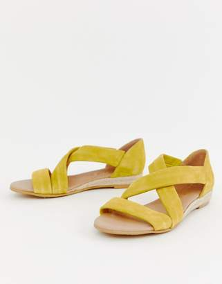 Office Hallie bright yellow suede flat sandals