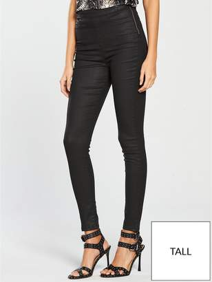 Very Tall Charley High Waisted Super Skinny Coated Jegging - Black Coated