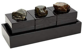 Couture Set of 3 Albert Decorative Boxes with Tray - Gloss Black