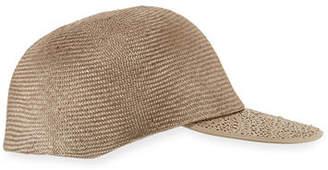 Inverni Straw Leather-Trim Baseball Cap