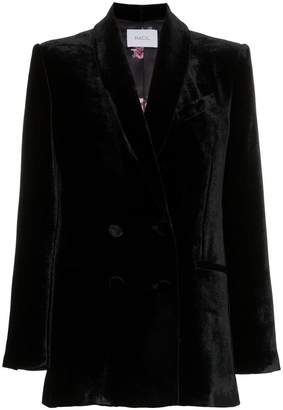 Racil double breasted shawl collar silk blend velvet blazer