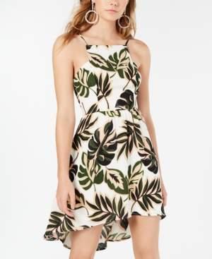 Teeze Me Juniors' Palm-Print High-Low Dress