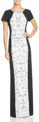 JS Collections Color-Block Lace-Front Gown