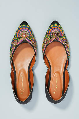 Anthropologie Well-Embroidered D'Orsay Flats