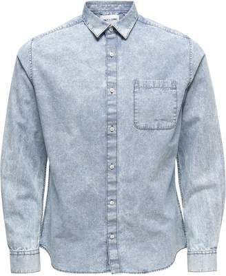 ONLY & SONS Acid Washed Stripe Denim Button-Down Shirt