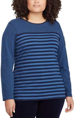 Chaps Plus Size Striped Pocket-Sleeve Top