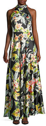 Nicole Miller NEW YORK Tropical Floral Halter Maxi Dress