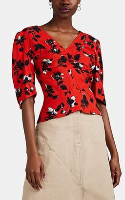 Derek Lam Women's Floating-Floral Crepe Peplum Blouse - Orange