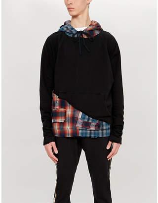 Greg Lauren Checked cotton-jersey hoody