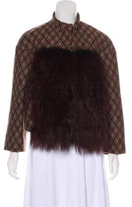 Giambattista Valli Fur-Accented Patterned Jacket w/ Tags