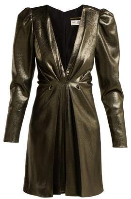 Saint Laurent Draped V Neck Dress - Womens - Black Gold