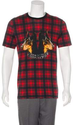 Givenchy Window-Check Doberman Print T-Shirt red Window-Check Doberman Print T-Shirt
