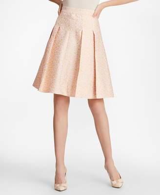 Brooks Brothers Floral Jacquard Pleated Skirt