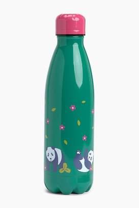 Frugi Girls Steel Hot Or Cold Drinks Bottle In A Panda Design - Green