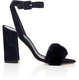 Barneys New York WOMEN'S SUEDE & MINK ANKLE-STRAP SANDALS - NAVY SIZE 6