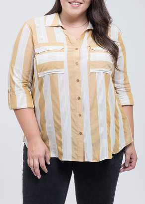Blu Pepper Perch by Two Pocket Roll Up Sleeve Shirt (Plus Size)