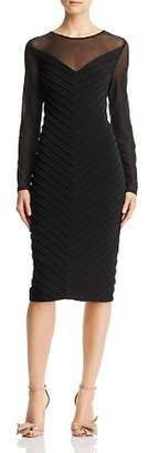 Adrianna Papell Pintucked Illusion Dress