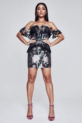 boohoo Premium Brocaide And Tassle Off Shoulder Dress