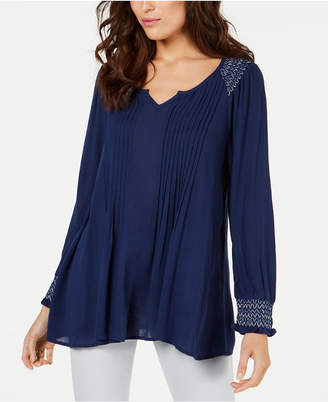 Style&Co. Style & Co Pintucked Smocked-Neck Top