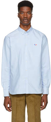 MAISON KITSUNÉ Blue Oxford Tricolor Patch Shirt