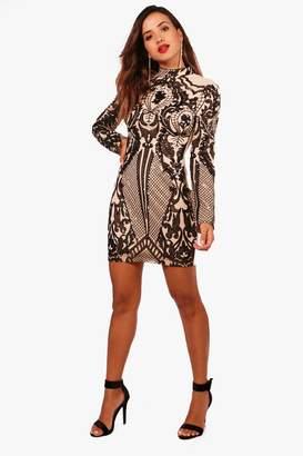 boohoo Boutique High Neck Printed Bodycon Dress