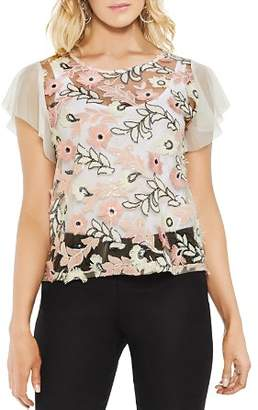 Vince Camuto Sheer Sequined Floral Top