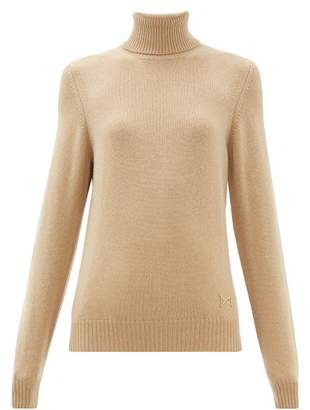 Barrie Logo Plaque Cashmere High Neck Sweater - Womens - Camel