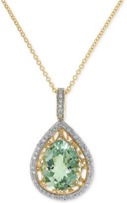 "Effy Prasiolite (3-1/3 ct. t.w.) & Diamond (1/3 ct. t.w.) 18"" Pendant Necklace in 14k Gold"