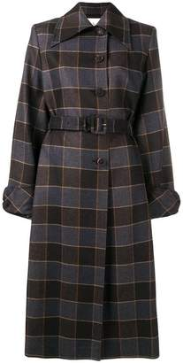 Mulberry check single breasted coat