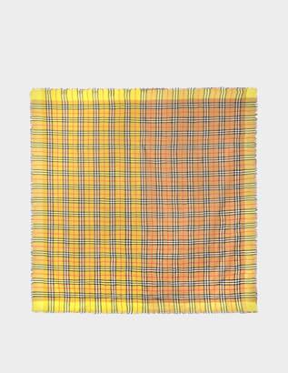Burberry 145X145 Colourblock Vintage Check Square Scarf in Bright Lemon Cotton
