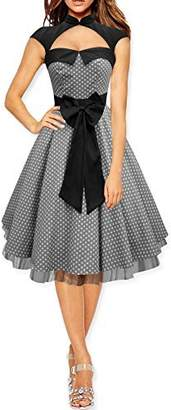 Athena BlackButterfly Athena' Polka Dot Large Bow Dress (Silver, US 8)
