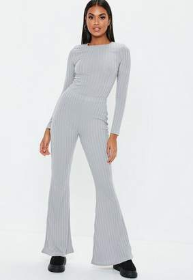 Missguided Grey Matte Ribbed Flared Leg Trousers