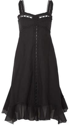 Charo Ruiz - Disa Crocheted Lace-paneled Cotton-blend Voile Dress - Black