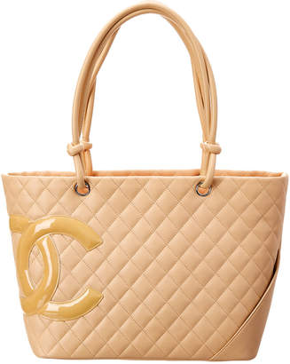 Chanel Beige Quilted Calfskin Leather Cambon Tote