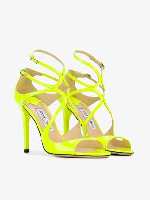 Jimmy Choo Shocking Yellow Lang 110 Patent Leather Sandals