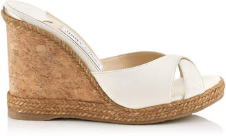 Jimmy Choo ALMER 105 Chalk Nappa Leather Sandal Mules with Braid Trim Wedge