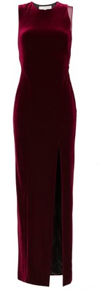Galvan crescent thigh split velvet dress