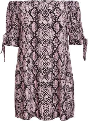 Dorothy Perkins Womens *Quiz Curve Pink And Black Snake Print Tunic Drees