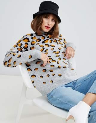 Asos Design DESIGN scattered leopard sweater