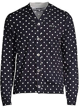 Comme des Garcons Men's Heart Polka Dot Wool Button-Down Shirt