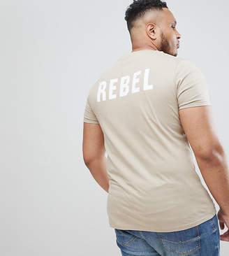 Asos Design DESIGN Plus t-shirt with rebel slogan print