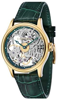 Thomas Laboratories Earnshaw Men's Bauer MACHANICAL Skeleton Stainless Steel Mechanical-Hand-Wind Watch with Leather Strap