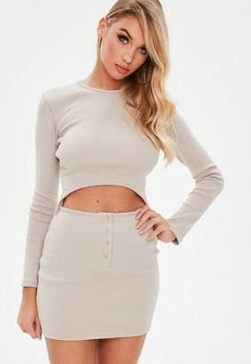 Missguided Camel Ribbed Long Sleeve Cut Out Mini Dress