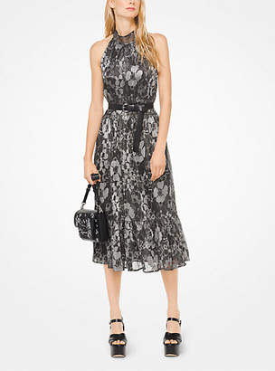 Michael Kors Metallic Floral Halter Dress